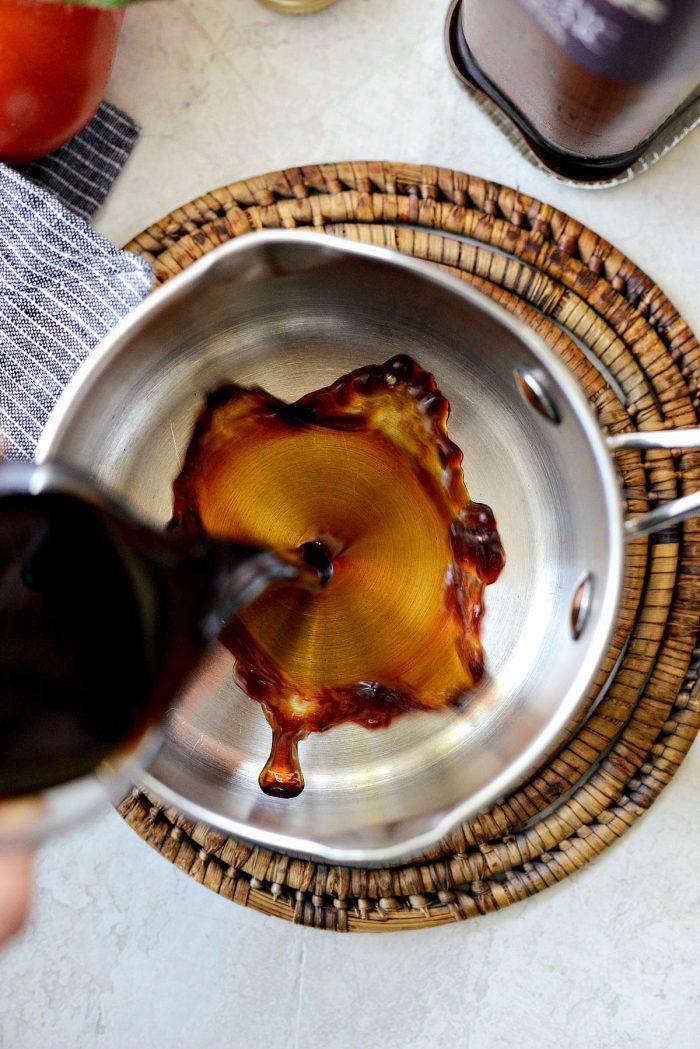 pour into saucepan