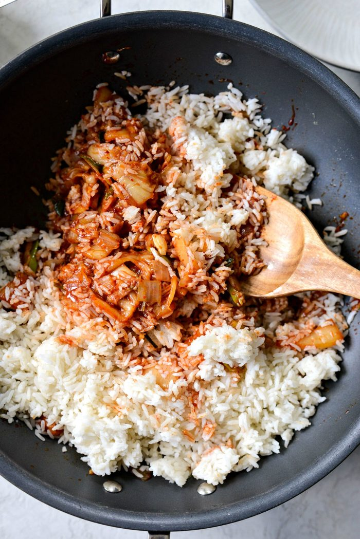 toss the rice with kimchi stir fry