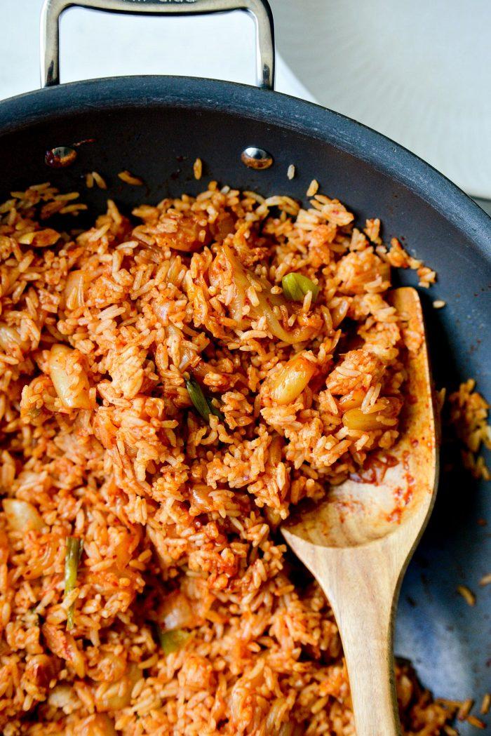 close up of kimchi fried rice