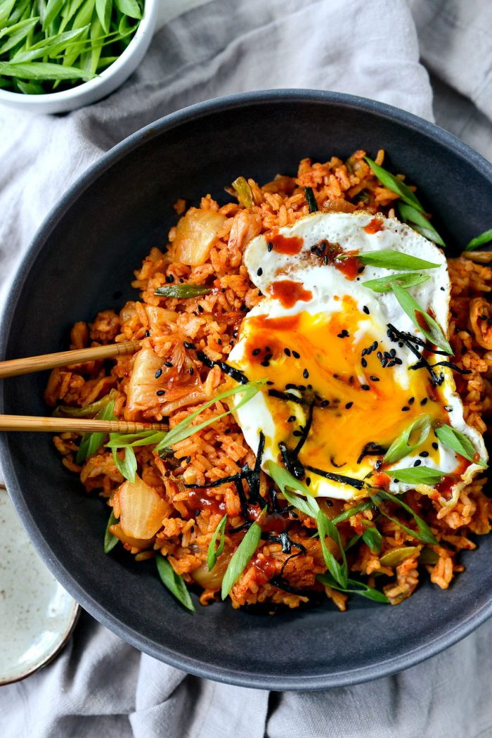 kimchi fried rice with chopsticks and fried egg