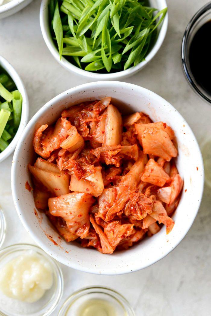 kimchi in white bowl