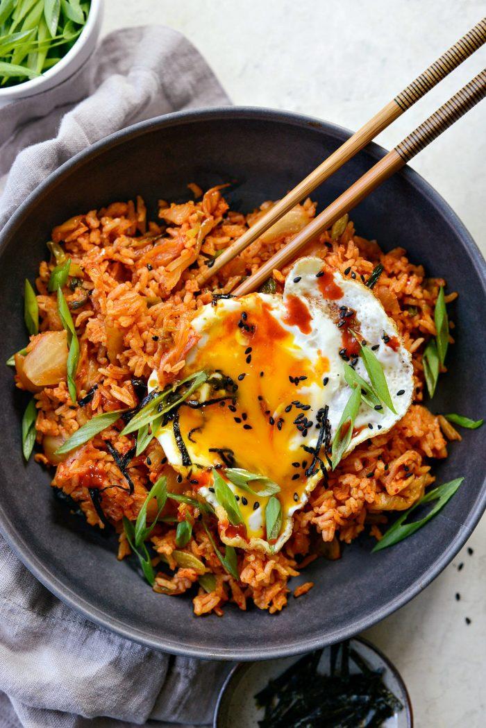 Kimchi Fried Rice with runny yolk
