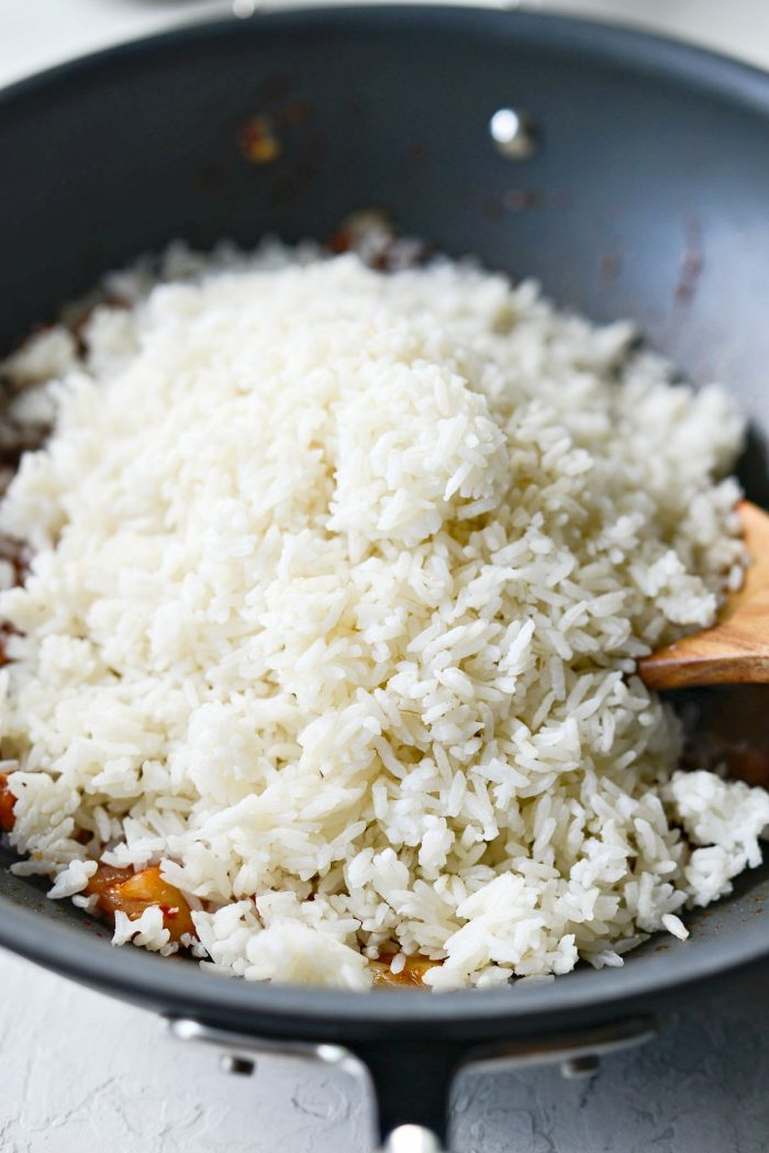 rice added to wok