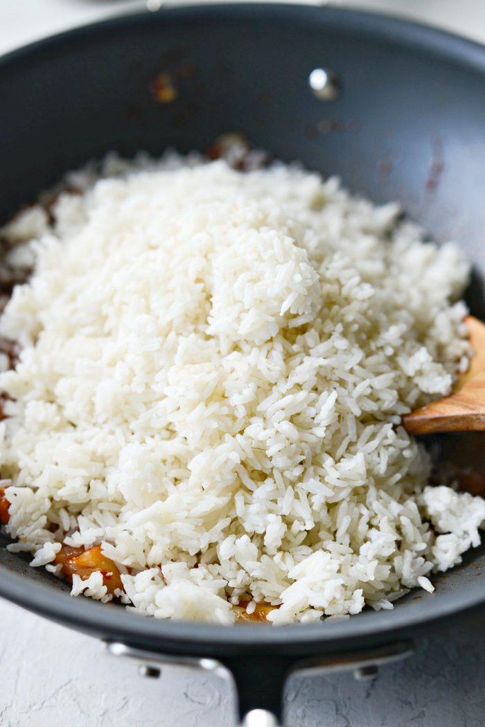 rice added to wok