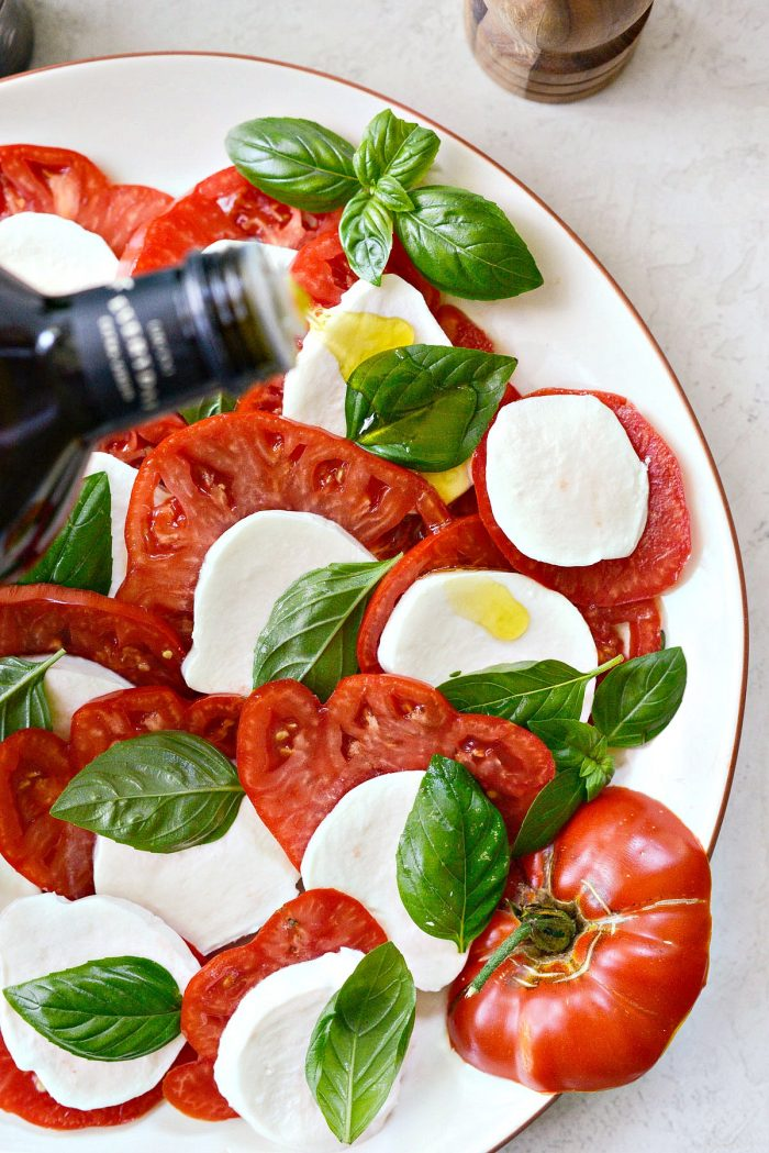 drizzle caprese with olive oil