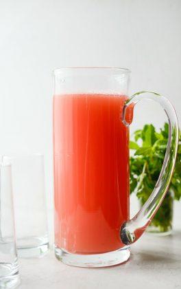 pitcher of watermelon lemonade