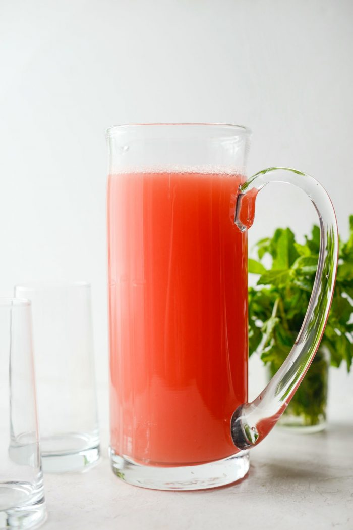 pitcher of watermelon lemonade