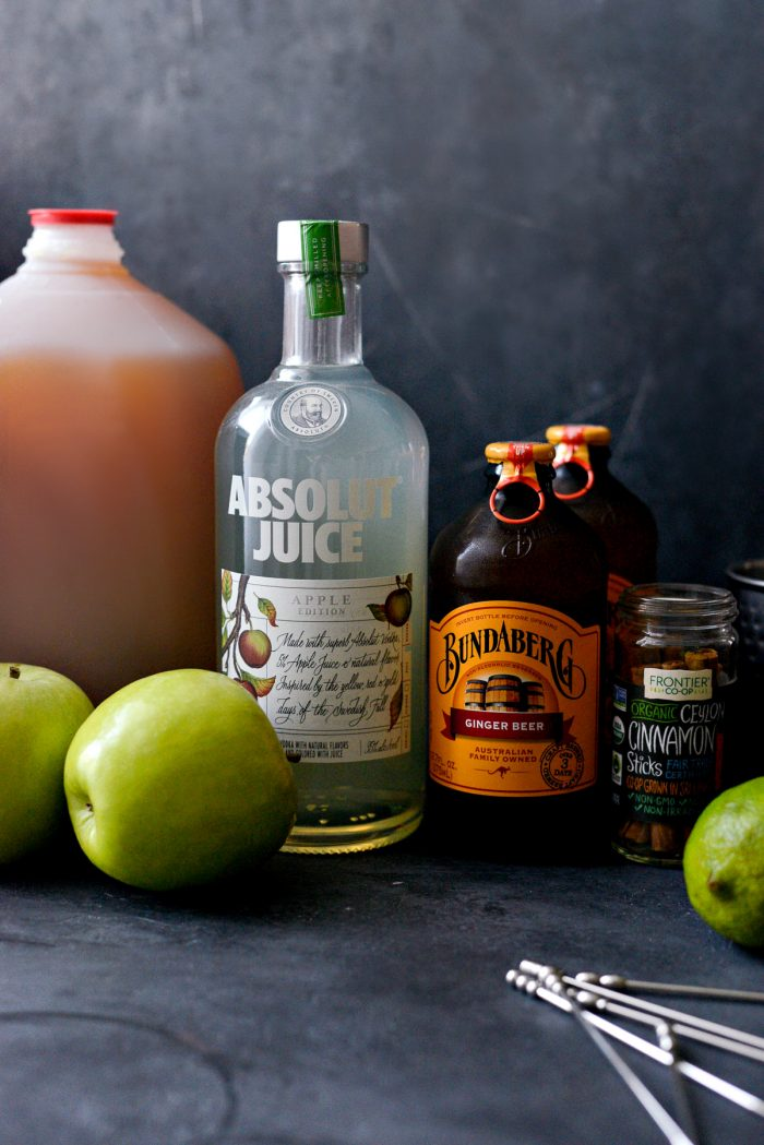 Apple Cider Moscow Mules ingredients lined up.