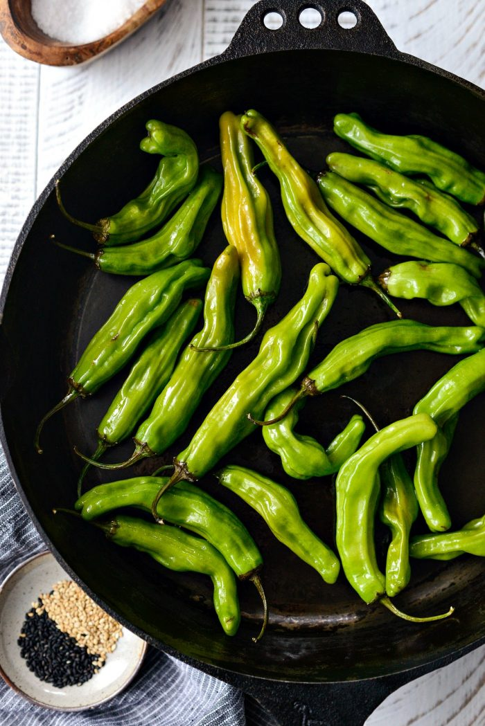 add peppers to hot skillet