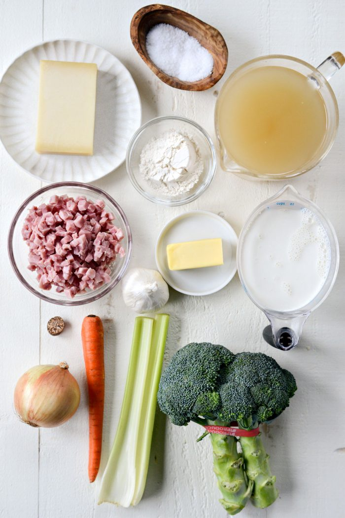 Broccoli Ham and Swiss Soup ingredients