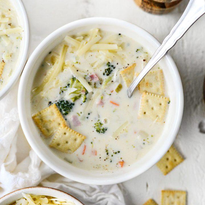 Broccoli Ham and Swiss Soup