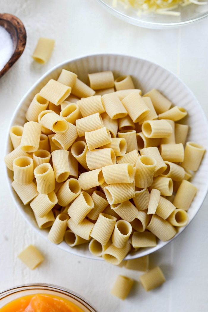 dried rigatoni noodles in a bowl