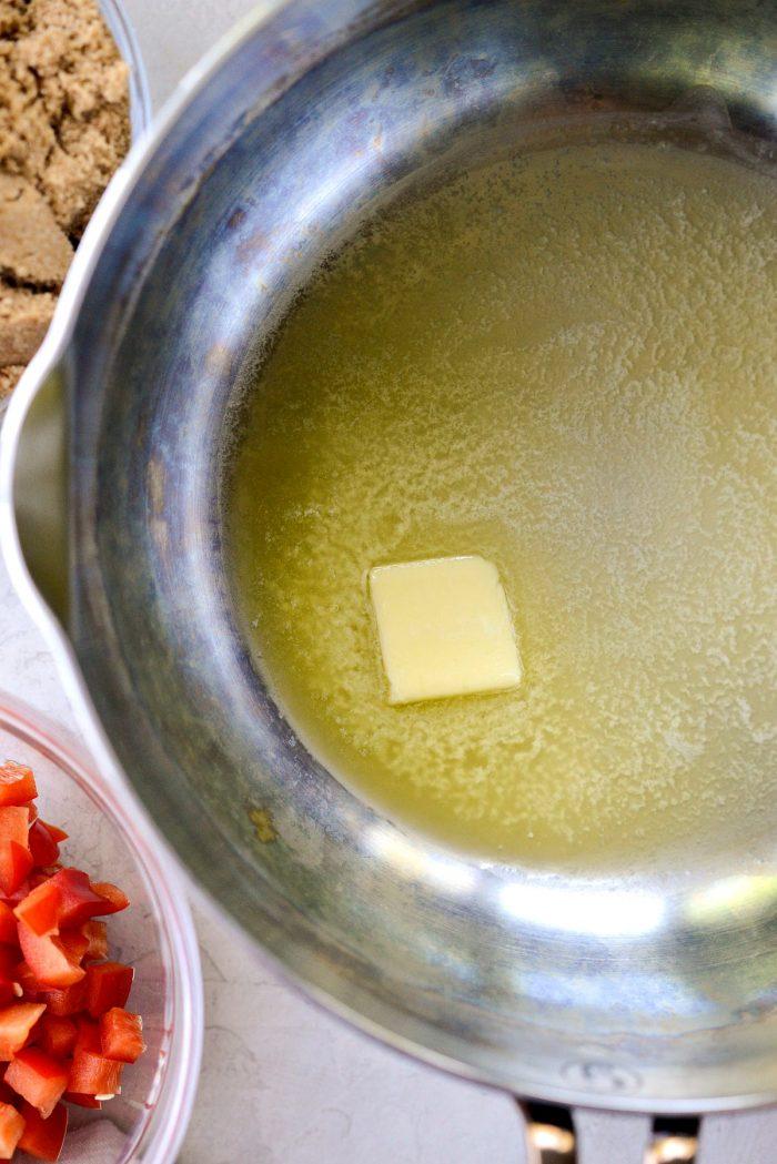 melt butter in pan.