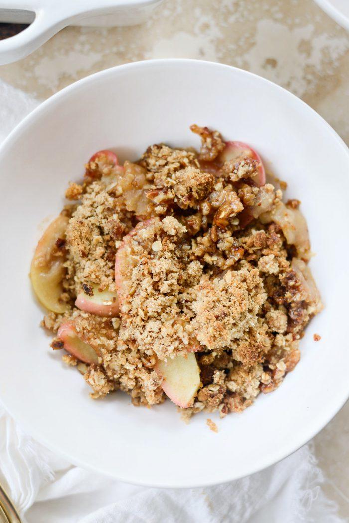easy apple crisp served in a white bowl