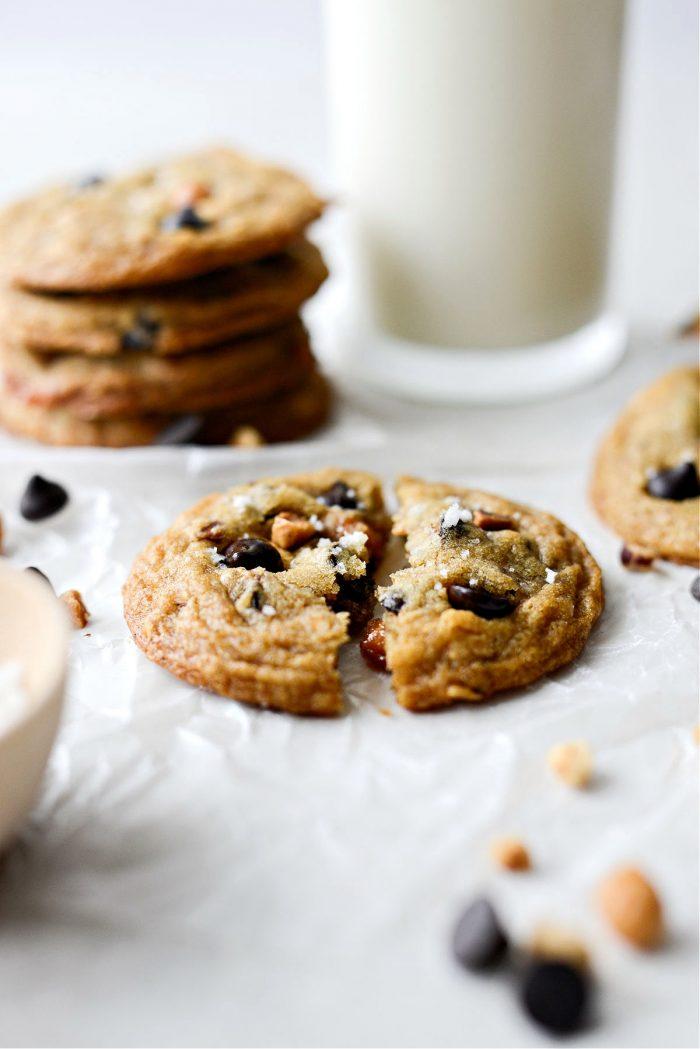broken Salted Caramel Espresso Hazelnut Cookies