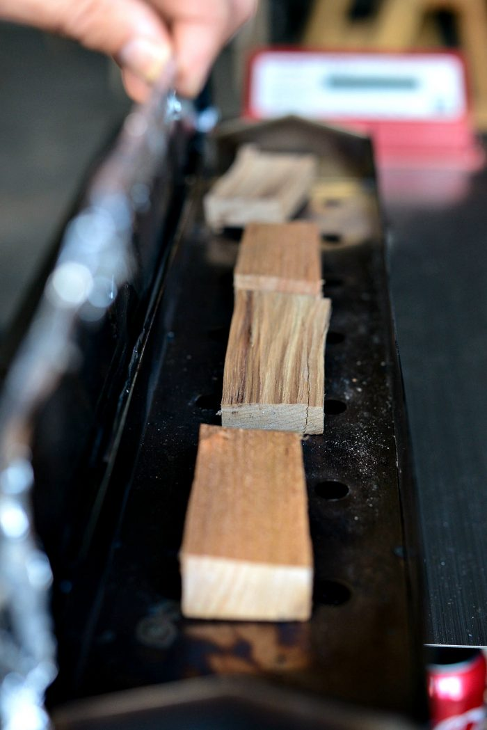 wood in smoke box.