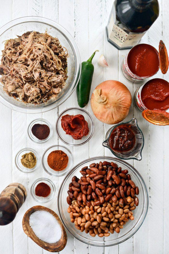 Smoky Pulled Pork Chili ingredients
