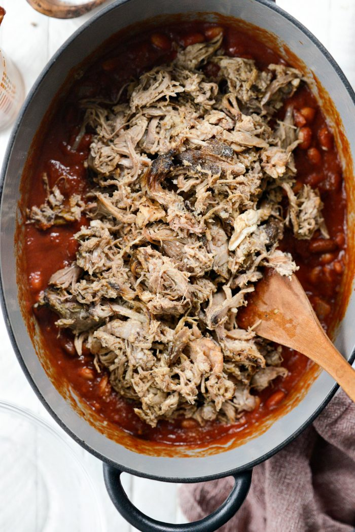 pulled smoked pork to the pot.