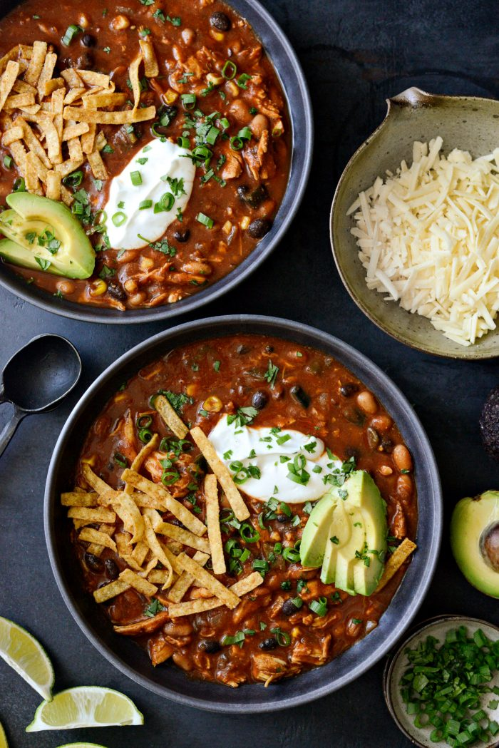 Two bowls of Southwest Chicken Chili.