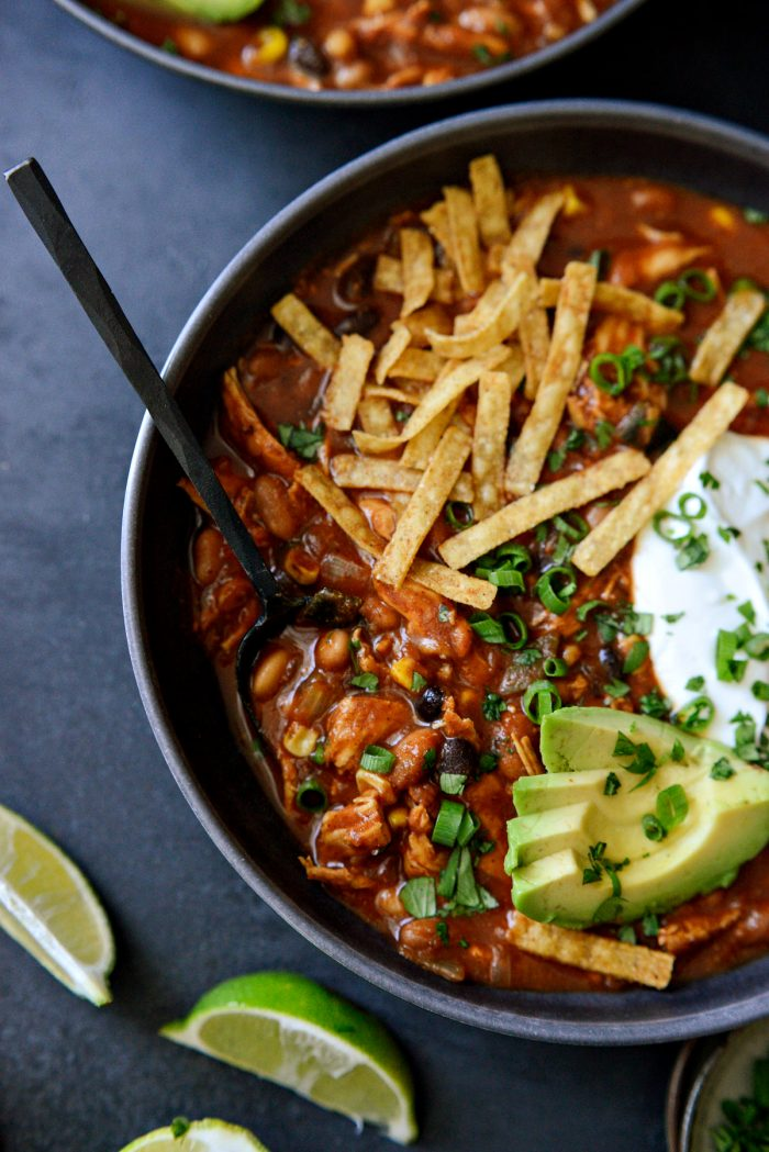 close up of spoon with Southwest Chicken Chili