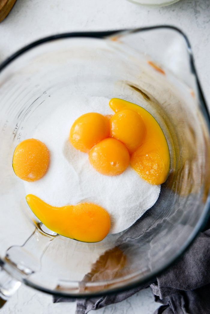 egg yolks and sugar in a large mixing bowl.