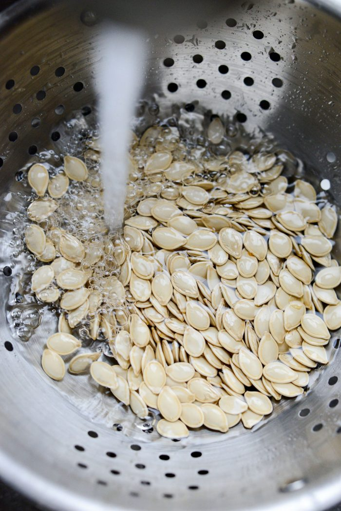 transfer seeds to a colander and rinse