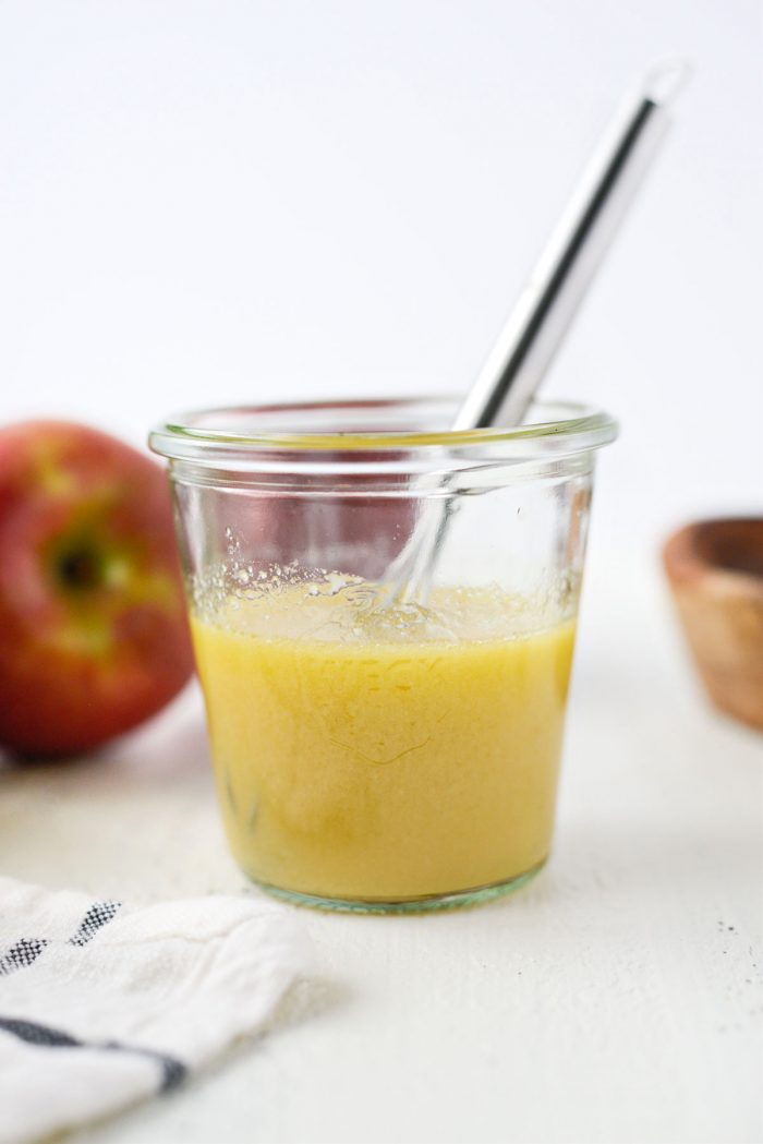 whisked apple cider vinaigrette.