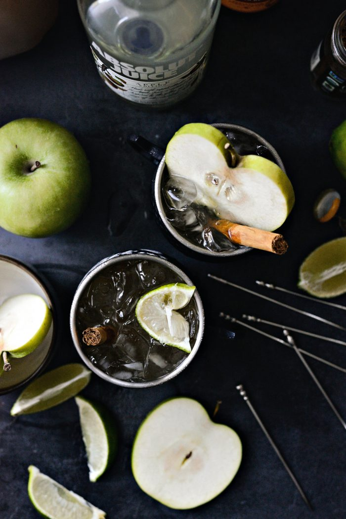 top down shot of two Apple Cider Moscow Mules.