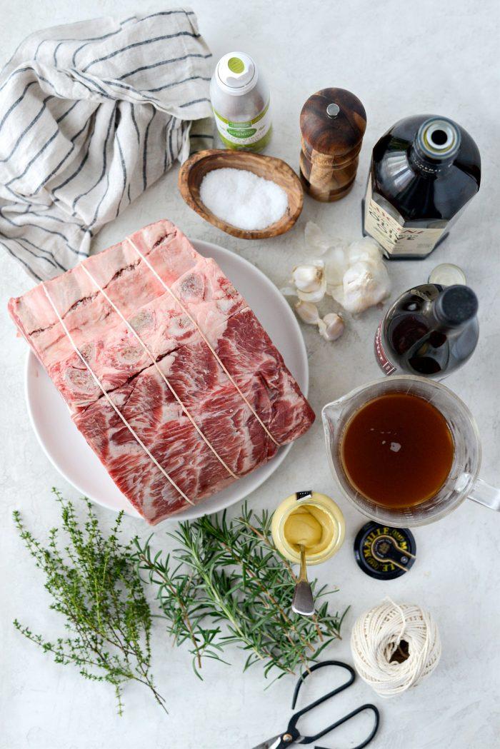 Dijon Rosemary Crusted Prime Rib ingredients.