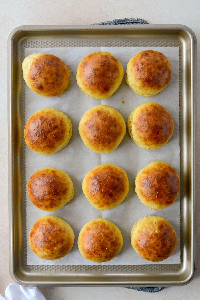 freshly baked brioche dinner rolls.