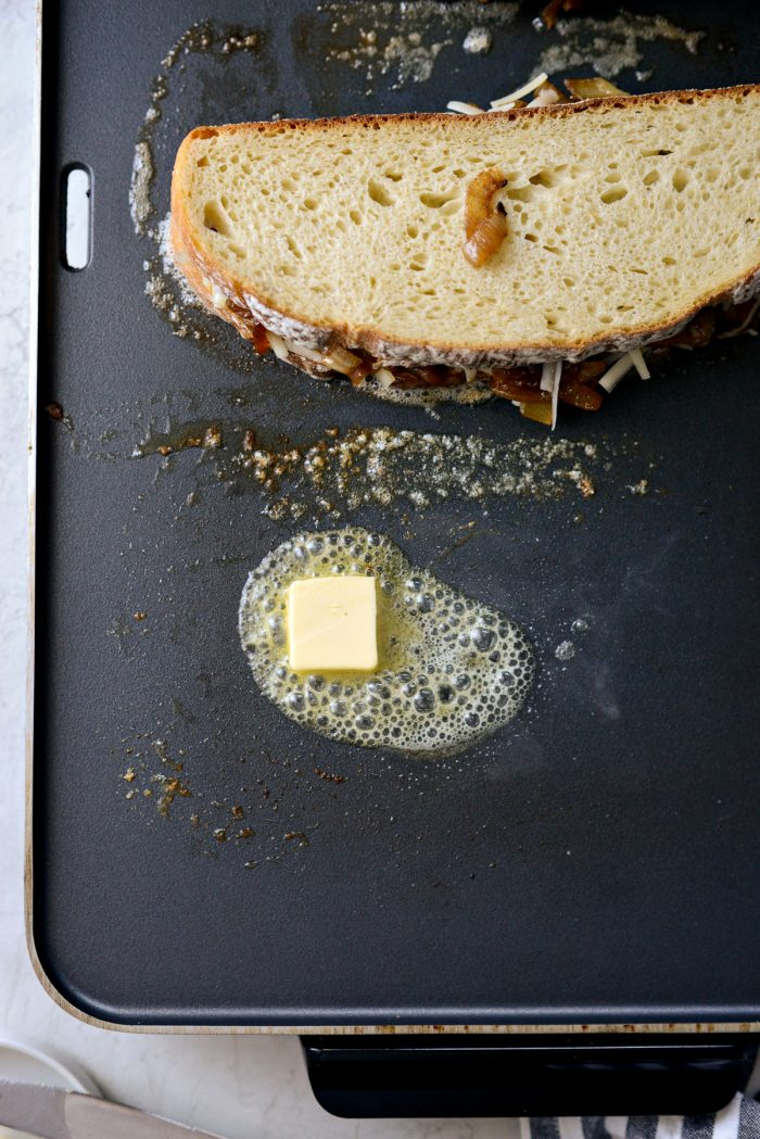 add more butter to griddle before flipping sandwich.