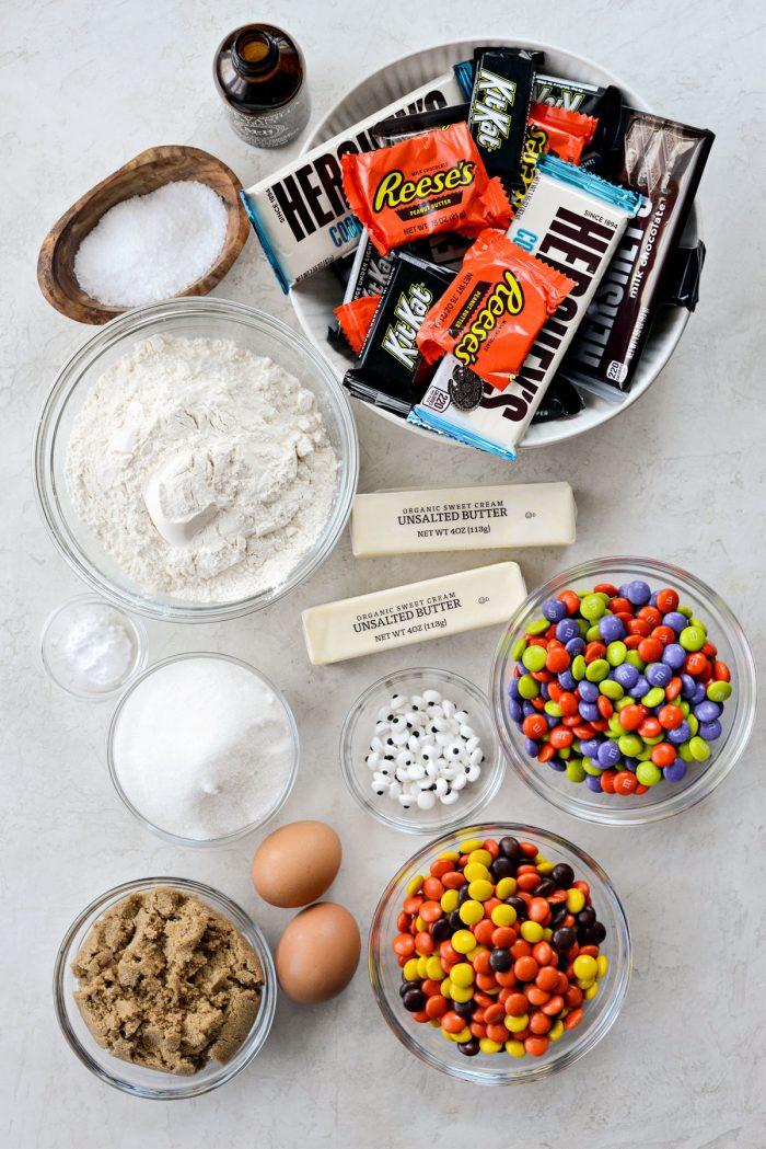 Halloween Candy Cookie Bars ingredients