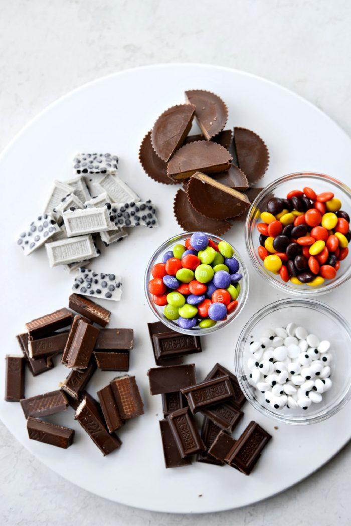 different chocolate Halloween cadies