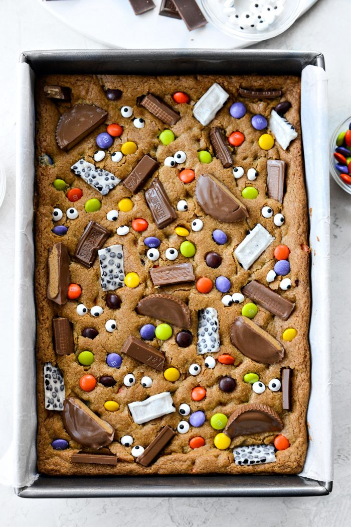 pan of Halloween Candy Cookie Bars