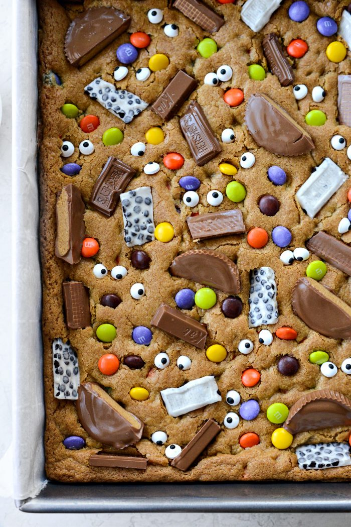 close up of Halloween Candy Cookie Bars