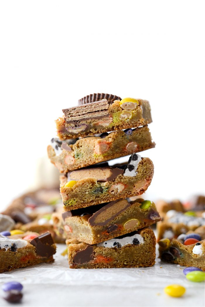 stacked Halloween Candy Cookie Bars.