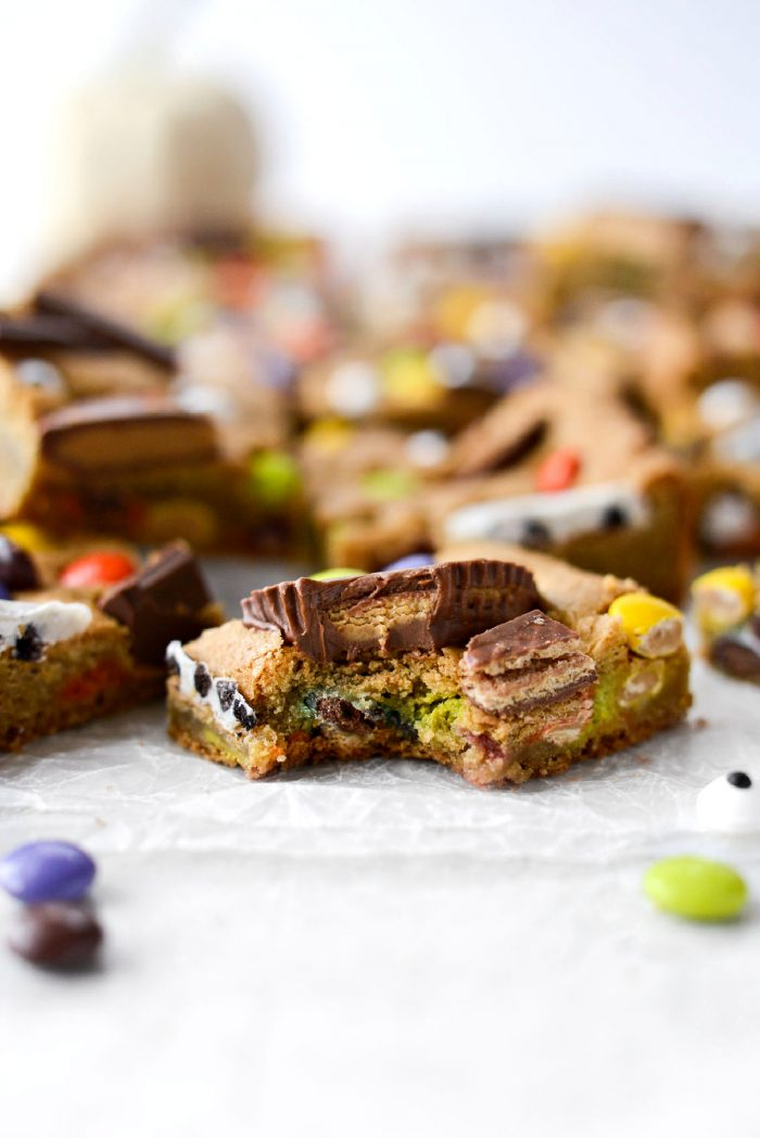 Bite into a Halloween Candy Cookie Bars.