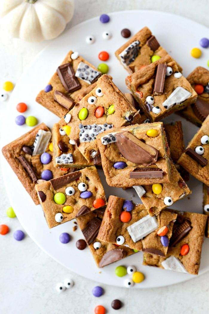 platter of Halloween Candy Cookie Bars.