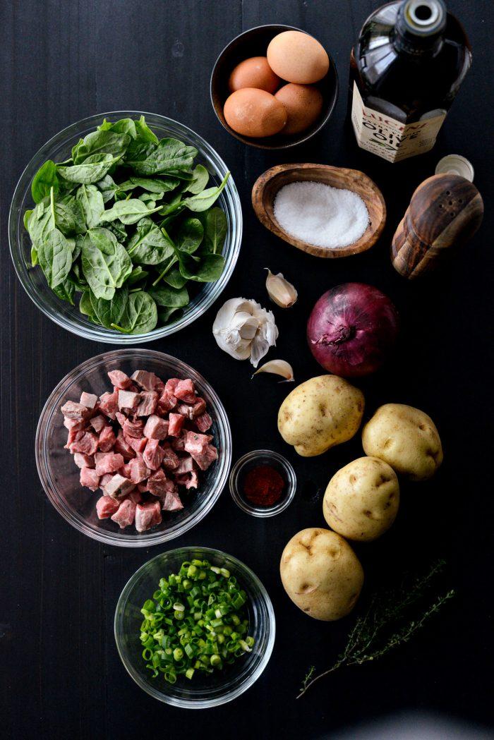 Leftover Prime Rib Hash ingredients
