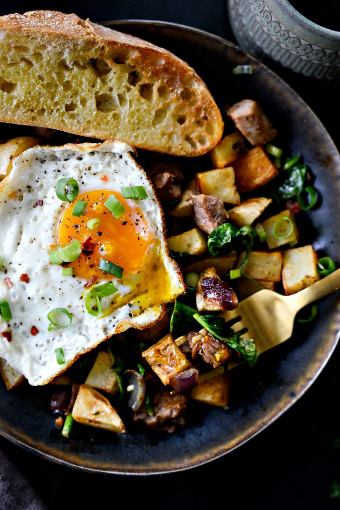 Leftover Prime Rib Breakfast Hash with toast and fried egg.