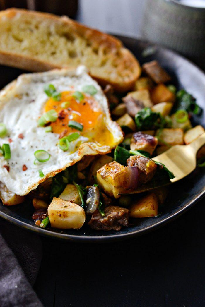 Forkful of Leftover Prime Rib Breakfast Hash.