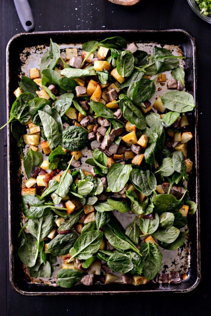 slide pan back in oven to wilt.