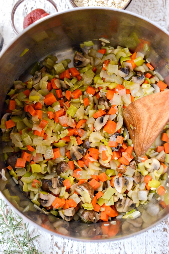 sauteed vegetables in the pot.