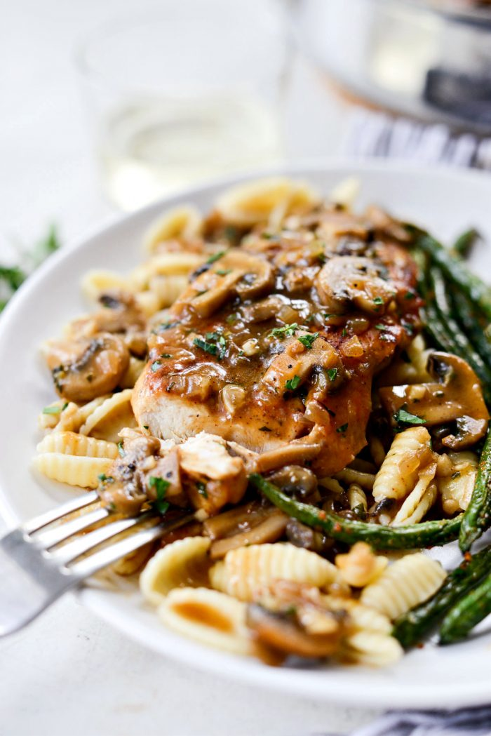bite of lighter chicken marsala.