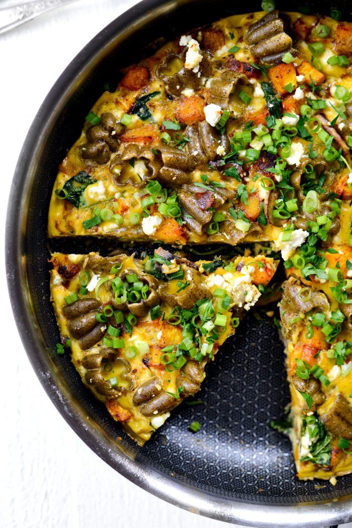 wedge of Roasted Pumpkin Kale and Feta Frittata.