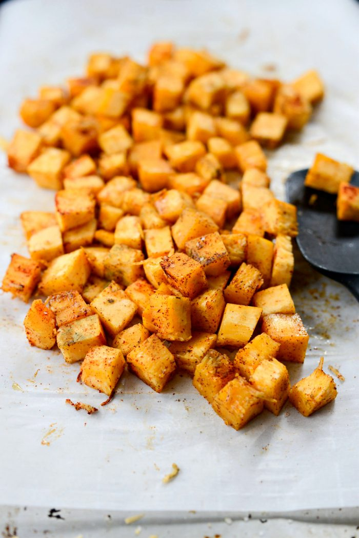 diced pumpkin tossed with dried sage and paprika.