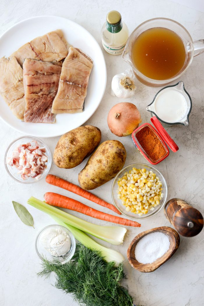 Salmon Chowder ingredients