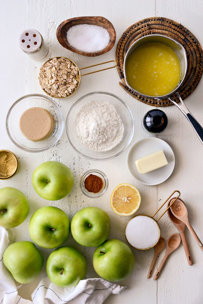 Caramel Apple Slab Pie ingredients.