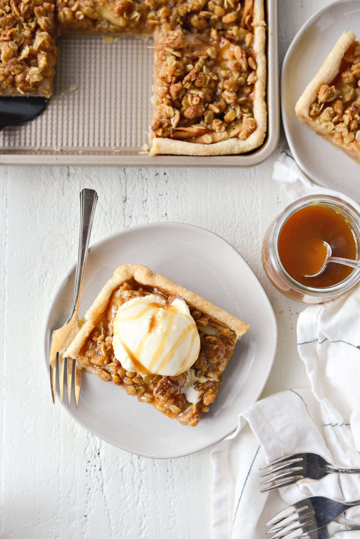 Caramel Apple Slab Pie on creamy grey plate