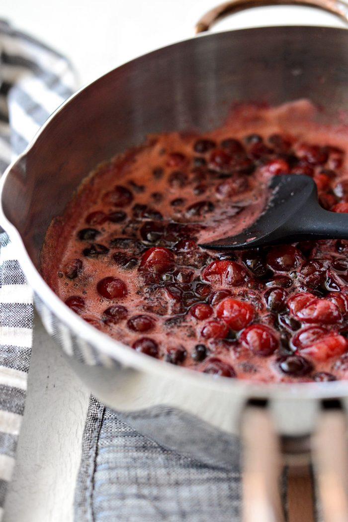 cranberries bursting.